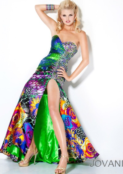 Jovani Colorful Print Prom Dress with Crystals 9636: French Novelty