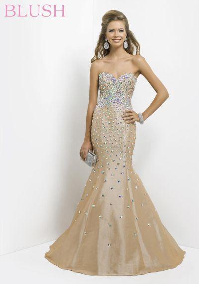 Blush 9703 Stunning Bustier Evening Dress: French Novelty