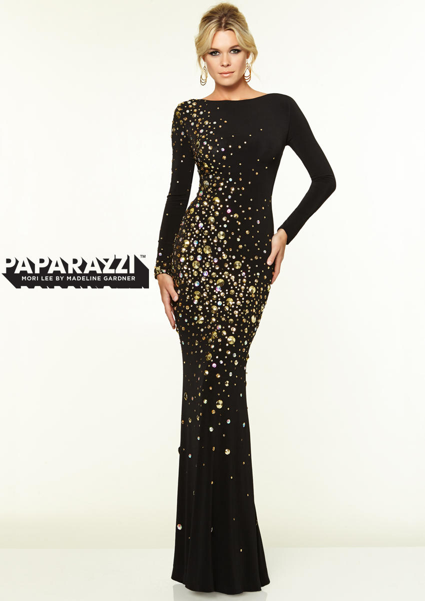 Mori Lee Paparazzi 97070 Long Sleeve Studded Jersey Gown French Novelty