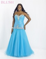 Blush W 9712W Plus Size Dropped Waist Gown image