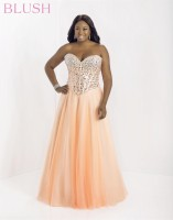 Blush W 9759W Plus Size Beaded Corset Gown image