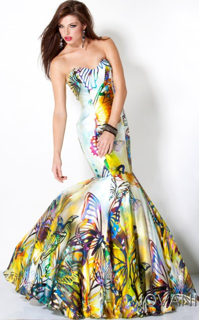 Print Mermaid Prom Dress