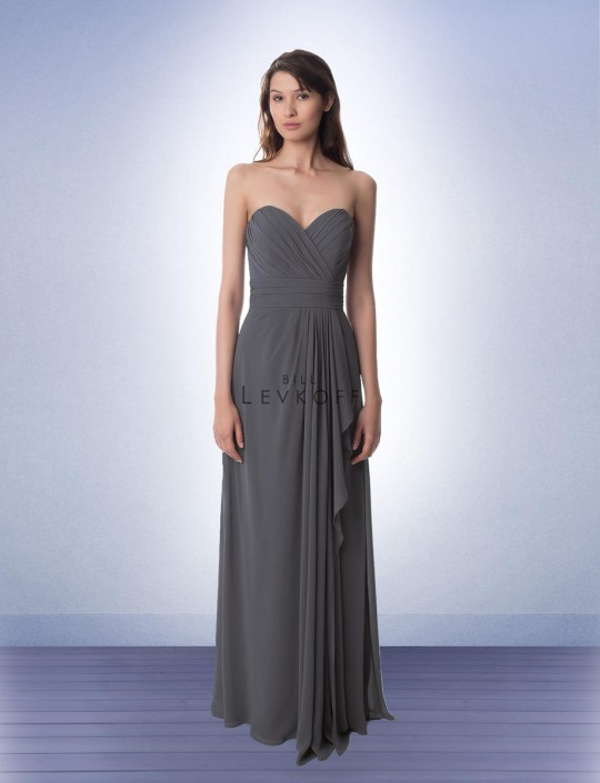 221a641730 Bill Levkoff 978 Strapless Chiffon Bridesmaid Gown  French Novelty