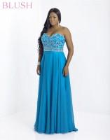 Blush W 9792W Plus Size Beaded Long Dress image