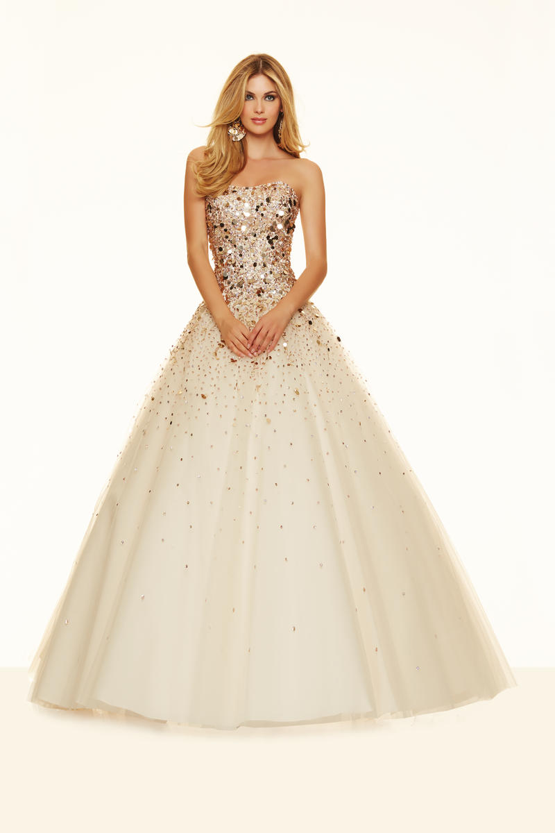 Mori Lee Paparazzi 98021 Beaded Tulle Ball Gown: French Novelty