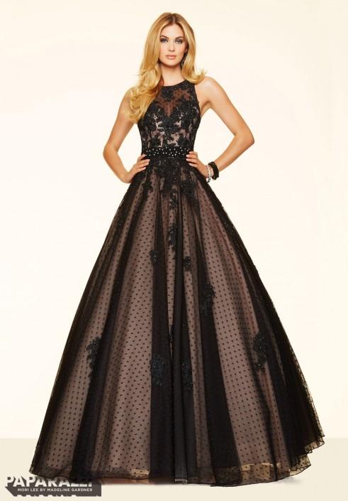 Mori Lee Paparazzi 98072 Swiss Dot Sleek Ball Gown: French Novelty