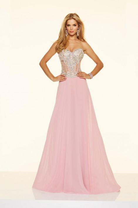 Mori Lee Paparazzi 98092 Sheer Corset Chiffon Prom Gown: French Novelty