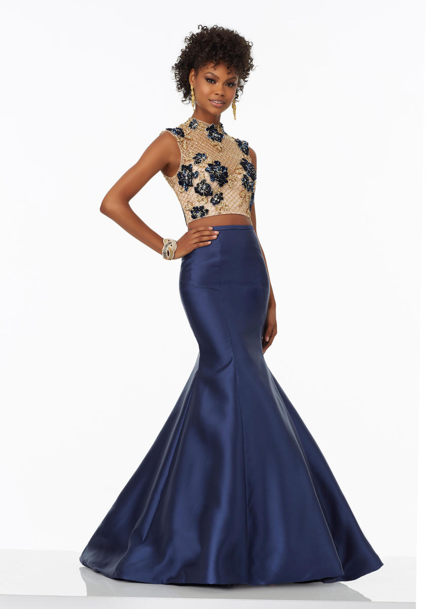 Morilee Prom 99017 High Neck 2pc Mermaid Dress French Novelty