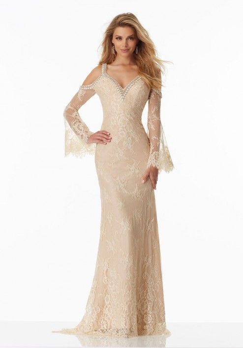 Size 10 Nude Morilee 99022 Boho Chic Lace Prom Dress: French Novelty