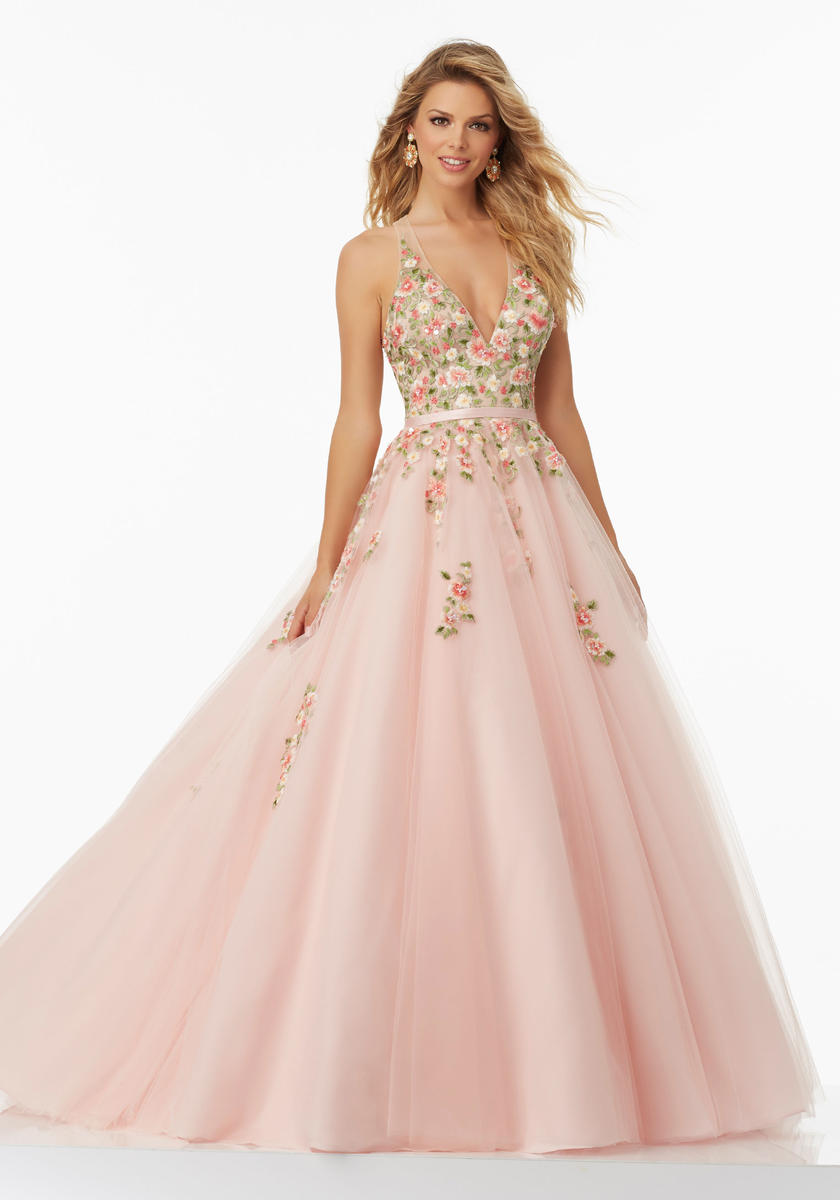 Morilee 99032 Floral Embroidered Tulle Prom Dress: French Novelty
