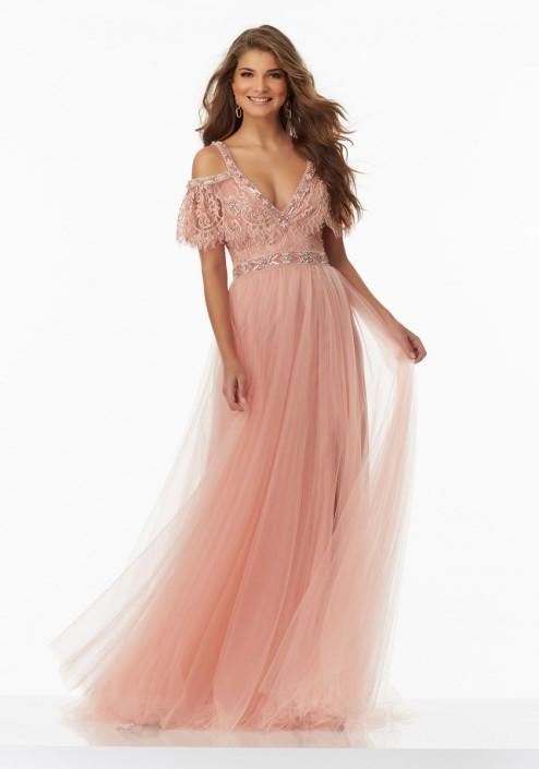 Morilee 99048 Off Shoulder Boho Chic Prom Dress French Novelty
