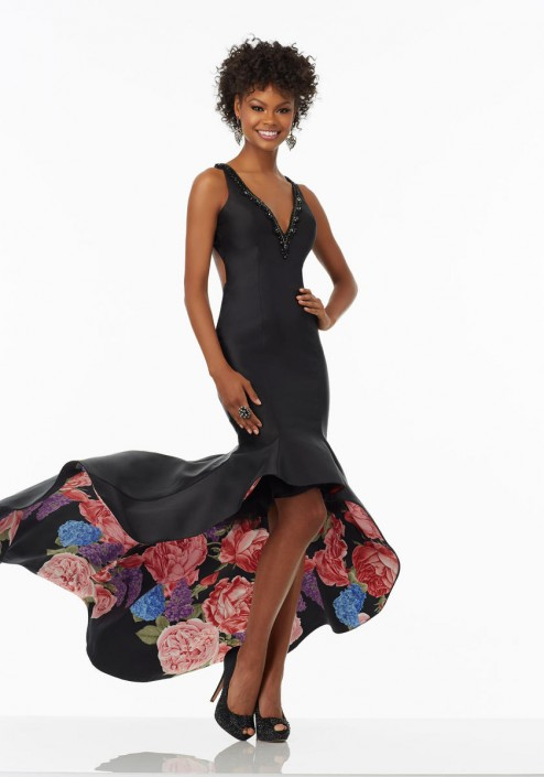 Morilee 99066 High Low Prom Dress with Print Underskirt: French Novelty