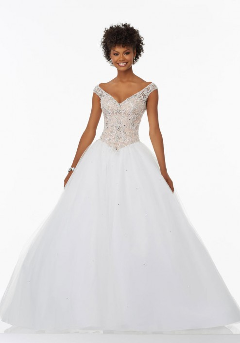 Morilee Prom 99078 Off Shoulder Ball Gown: French Novelty