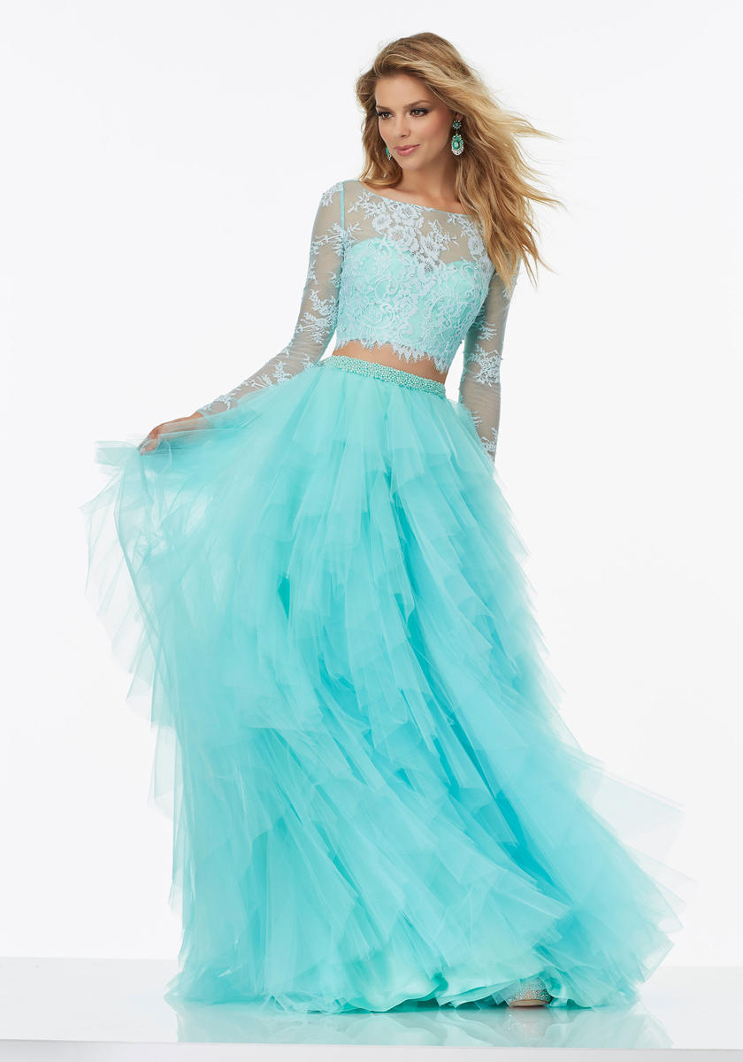 Morilee 99124 Lace Long Sleeve 2pc Prom Dress: French Novelty