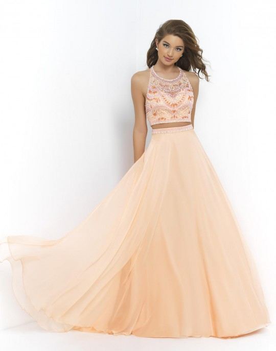 Blush 9916 2pc Long Prom Dress: French Novelty