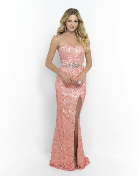 Blush Prom 9932 Gown with High Slit: French Novelty