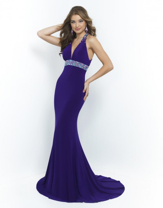 Blush Prom 9962 Deep V Neck Gown: French Novelty