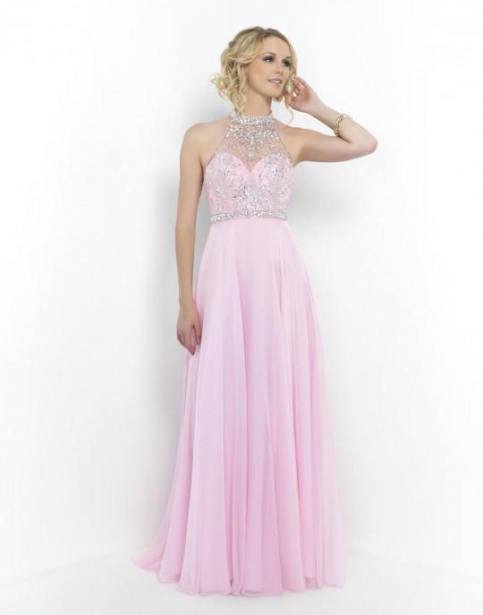 Blush Prom 9990 Sheer Halter Dress French Novelty