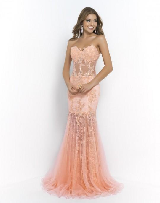 Blush 9996 Sheer Corset Mermaid Dress: French Novelty