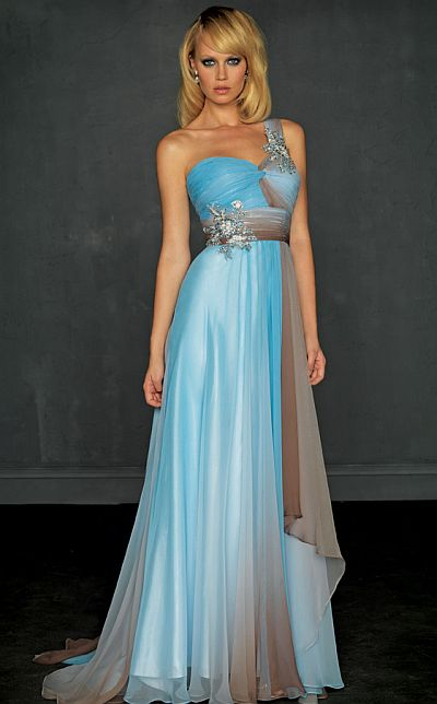 Evenings by Allure One Shoulder Ombre Prom Dress A319: French Novelty