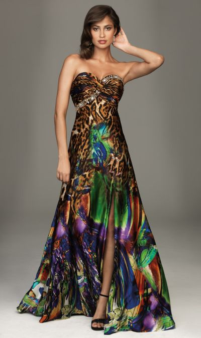 Colorful Animal Print Evening Dress Evenings by Allure A422 ...