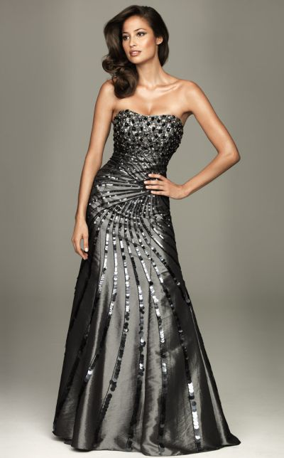 6aa3bdf10bb Evenings by Allure Sequin Taffeta Strapless Evening Gown A423  French  Novelty