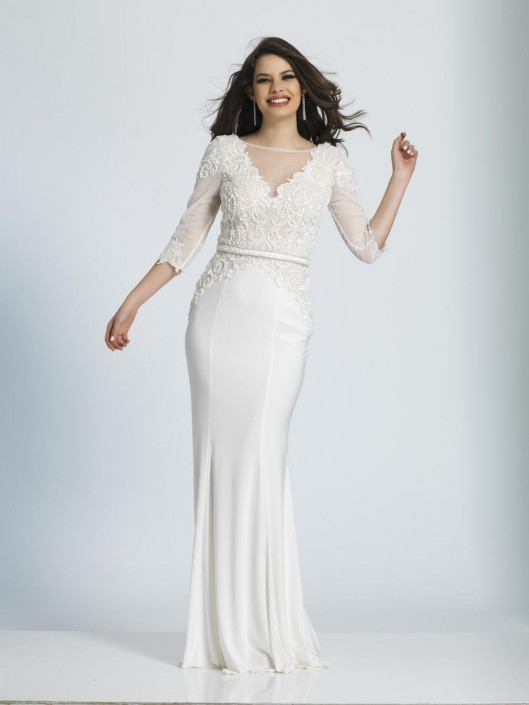 Size 16 Ivory Dave and Johnny A4945 Sheer Lace Sleeve Jersey Gown ...