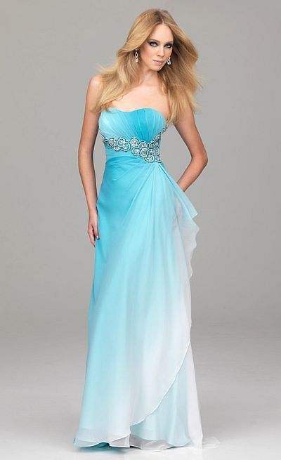 Evenings by Allure Ombre Beaded Waist Prom Dress A504: French Novelty