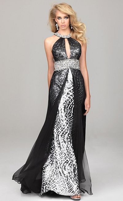 Evenings by Allure Sequin Prom Dress with Chiffon Overlay A511 ...
