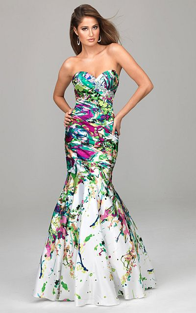 Evenings by Allure Colorful Print Mermaid Prom Dress A525: French ...