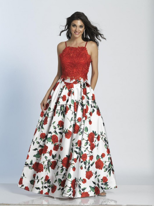 Dave and Johnny A5265 Lace and Floral 2 Piece Gown: French Novelty