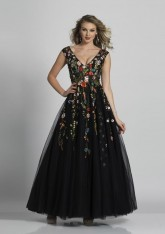 47578a8b8aa Size 0 Black Dave and Johnny A5703 Evening Dress with Flowers