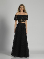 291c9cc4cfe Size 0 Black Dave and Johnny A6237 Off Shoulder Ruffle 2pc Gown