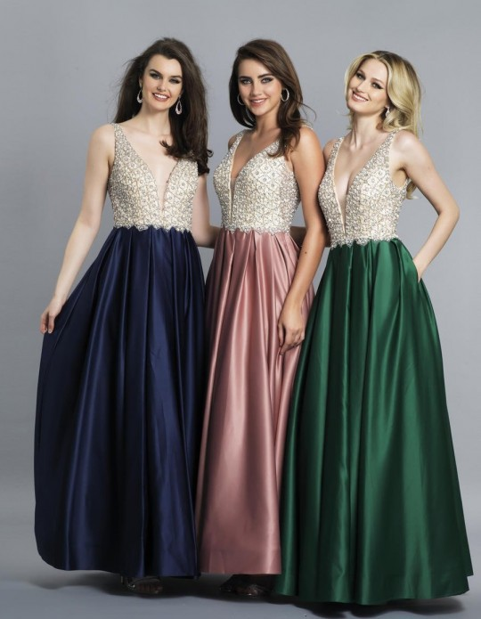 Dave and Johnny A6395W Deep V Plus Size Prom Gown: French Novelty