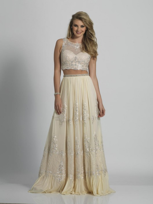 Dave and Johnny A6413 Cream 2 Piece Prom Dress: French Novelty
