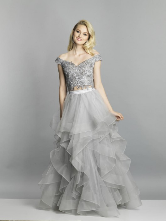 810e64911820 Dave and Johnny A6872 Ruffled 2 Piece Prom Gown: French Novelty