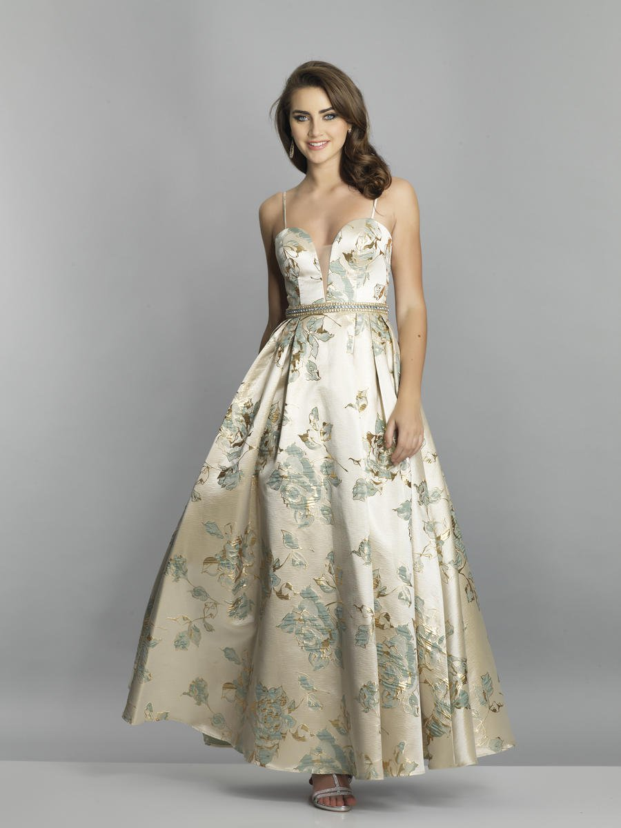 Dave And Johnny A7549 Shimmering Floral Prom Gown French