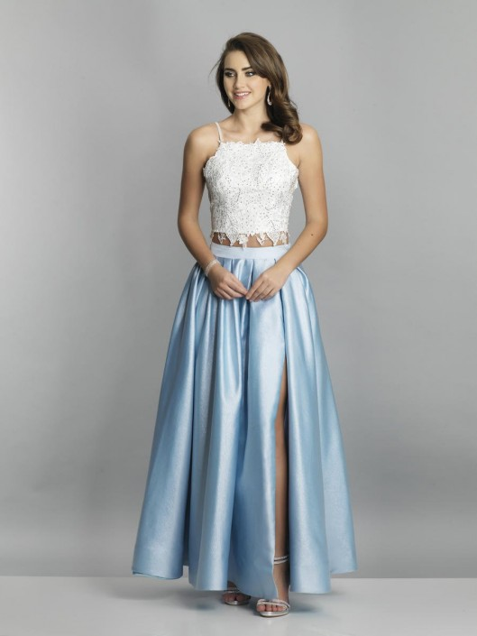 Dave And Johnny A7625w Lace Crop Top Plus Size Gown French Novelty