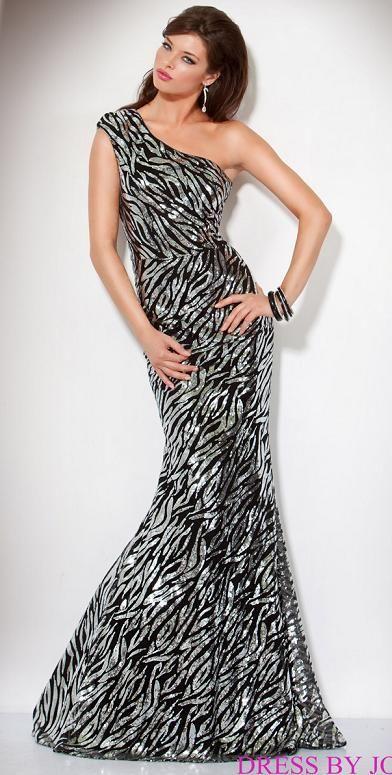 Jovani Beyond One Shoulder Sequin Zebra Mermaid Prom Dress B416