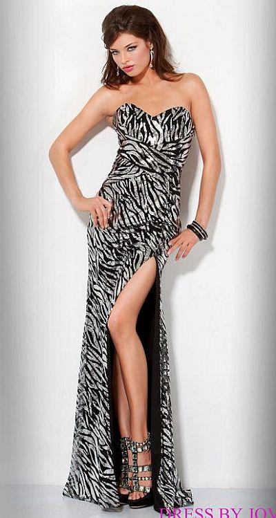 Jovani Beyond Strapless Sequin Zebra Prom Dress B417: French Novelty