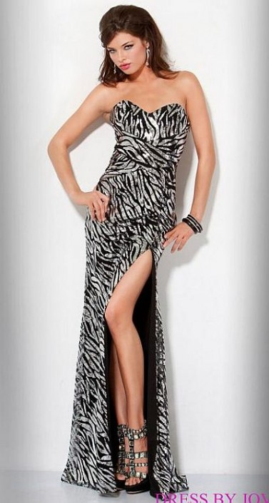 Jovani Beyond Strapless Sequin Zebra Prom Dress B417: French Novelty