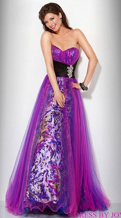 Jovani Beyond Purple Print Prom Dress With Tulle Overlay
