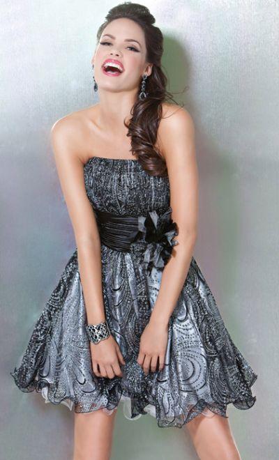 Black and Silver Print Jovani Short Homecoming Dress B458: French ...