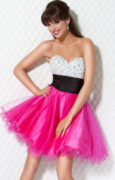 Jovani Hot Pink Beaded Layered Short Homecoming Party Dress B544 ...