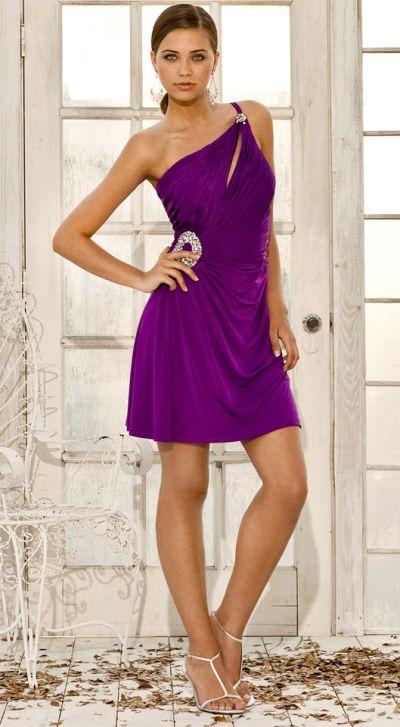 One Shoulder Cocktail Dress Purple