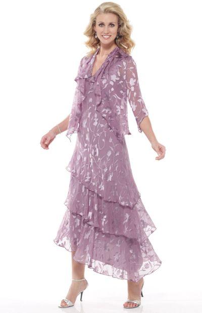 Capri by Mon Cheri Mauve Silk Burnout Tiered Evening Dress CP11132 ...