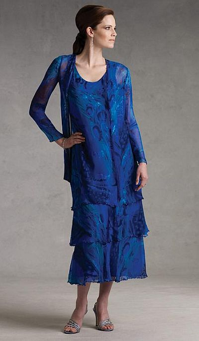 Mon Cheri Capri Royal Blue Tiered Tea Length MOB Dress CP2901-19 ...