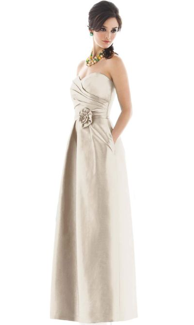 Dessy Alfred Sung Strapless Long Bridesmaid Dress With Flower D497 French Novelty