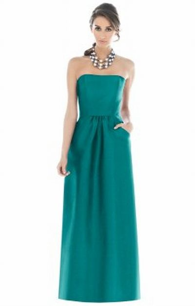 Alfred Sung Long Bridesmaid Dress with Pockets D511 by Dessy ...