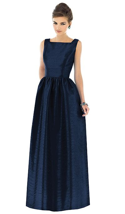 Alfred Sung Square Neck Sleeveless Long Bridesmaid Dress D521 ...